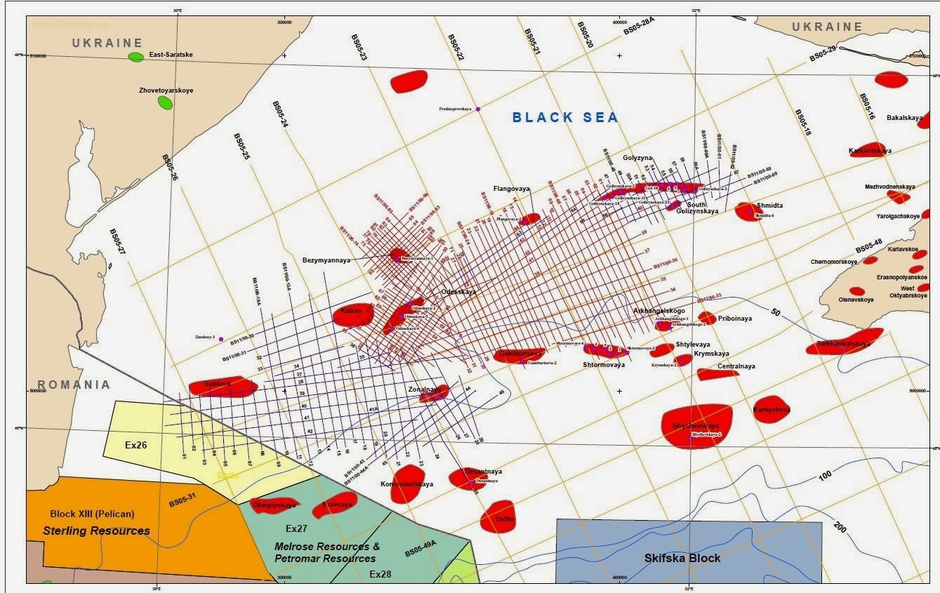 Oil and gas offshore deposits near Crimea, Cape Tarkhankut, Ukraine